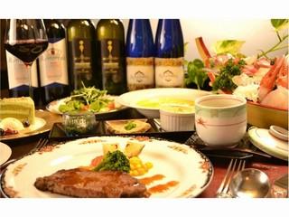 【スタンダード】魚もいいけど、やっぱりお肉も食べたい!絶品ステーキ+刺身大舟盛【風-kaze-】