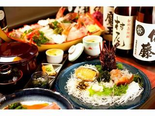 【陽-hikari-】調理人の技が冴える!【伊勢海老orアワビのお造り】+お刺身大舟盛