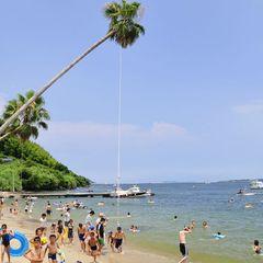 夏はやっぱり海水浴\フェリーで10分博多湾のアイランド/能古島海水浴場入場券の特典付!(朝食込)