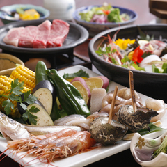 地魚の造り盛りつき海鮮&但馬牛炭火焼きプラン【あいたい兵庫】