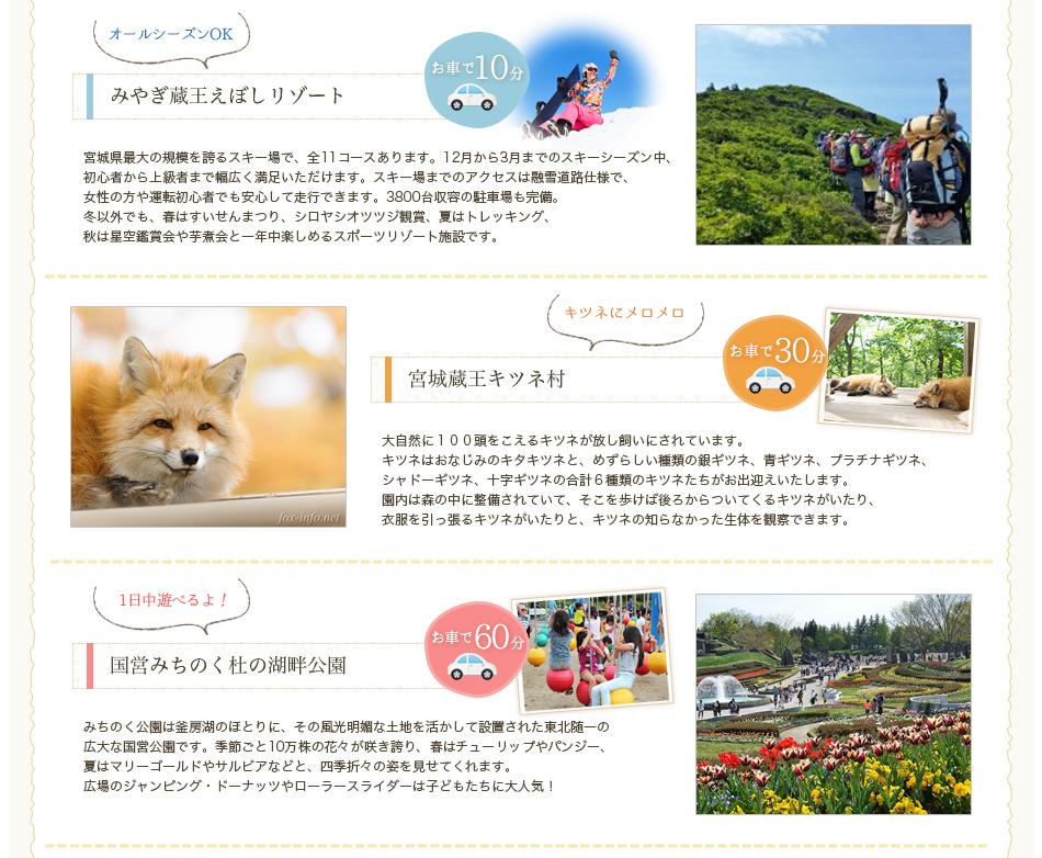 えぼしリゾート・蔵王キツネ村・湖畔公園