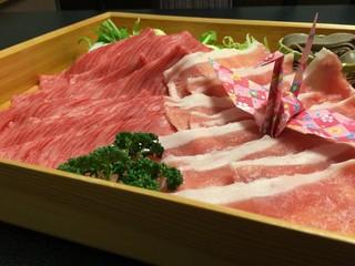 山形牛と庄内豚の合い盛りしゃぶしゃぶをそばだれでさっぱりと【月膳コース】禁煙ルーム