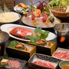【料理ハイグレード】3つの高級食材のコラボ「お刺身盛り込み」伊勢海老+鮑と金目しゃぶしゃぶ