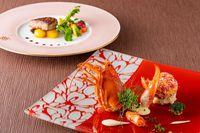 【美食A】オマール海老の花衣焼き アイオリソース&国産牛ヒレステーキ バルサミコソース〈休前日〉