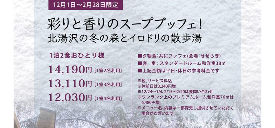 12/1〜2/28限定 彩りと香りのスープブッフェ!北湯沢の冬の森とイロドリの散歩湯