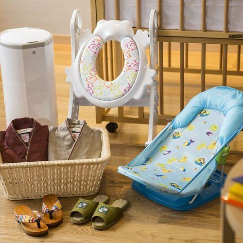 【ベビールーム/76㎡】赤ちゃん用設備充実でパパママ安心。ベビーベッド付洋室