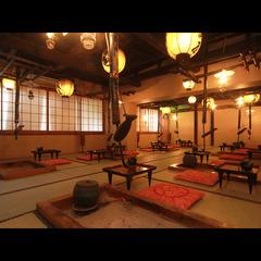 【冬季限定】湯西川名物を楽しむ!熊鍋×囲炉裏料理と貸切露天風呂で心も身体もポカポカ♪