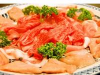【1人300グラムのお肉の幸せ】ボリューム満点!3種のお肉のすき焼き満腹プラン♪
