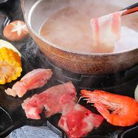 【欲張り焼き鍋コース】★人気NO1★ 鹿児島黒豚を<さくら鉄板焼肉&しゃぶしゃぶ>で同時に味わう♪