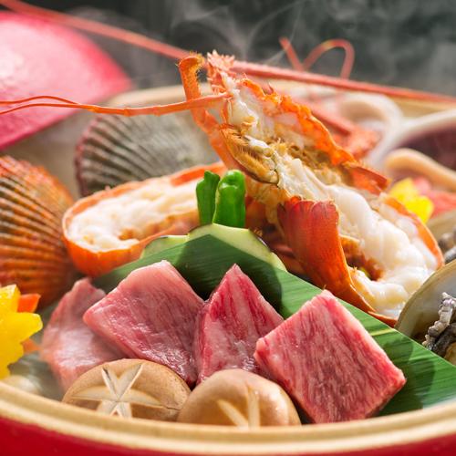 2【美食贅沢会席】<満足度NO.1>食の玉手箱「宝楽焼」×「季節の船盛り7種」