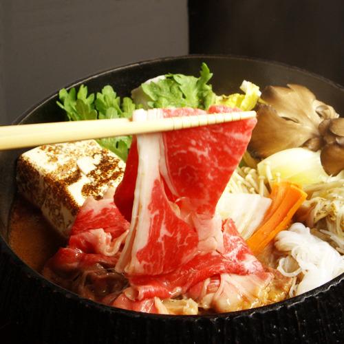 \お部屋でお鍋 /日本料理「矼」特製わりしたでいただく国産牛すき焼き鍋【冬季限定】