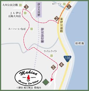 マヒナまでの交通案内マップ(風月無辺内)