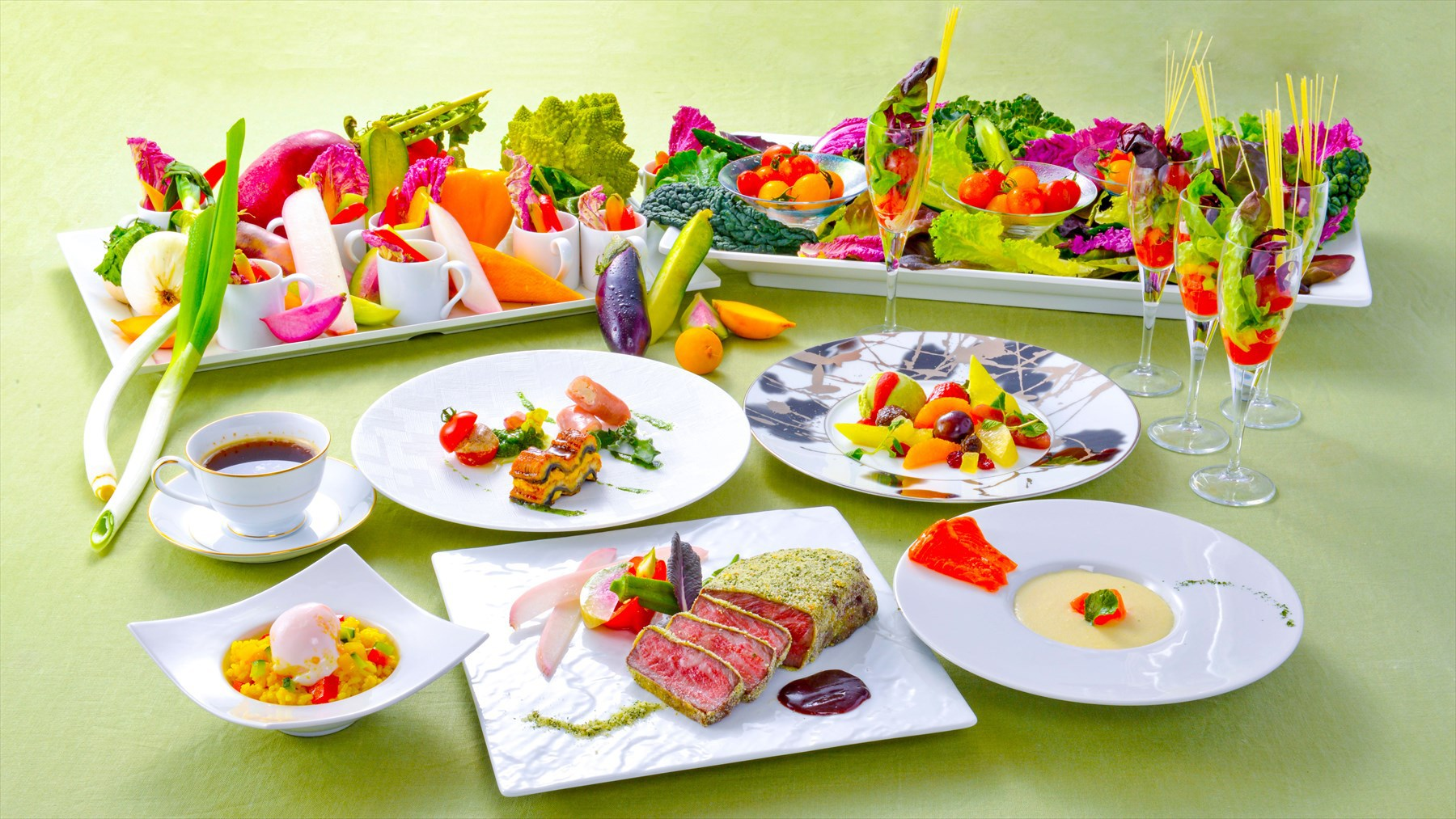 【夕食・朝食付】(飲み放題付)『牛ロースハーブ焼き』と『箱根山麓野菜のビュッフェ』スタンダードコース