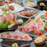 【A4等級鹿児島黒牛と黒豚を堪能!】薩摩の肉三昧会席《牛炙り寿司×牛陶板焼×黒牛&黒豚極上鍋》