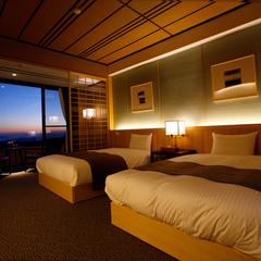 【最上階】霧島の絶景を一望できるDXツインルーム−21平米−