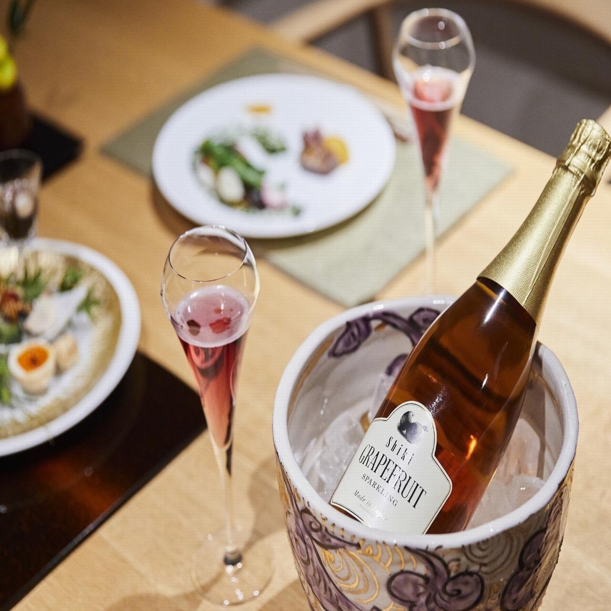 【アニバーサリー】スパークリングワインとデザートプレート付☆朝・夕食は半個室♪「露天風呂付客室」