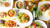 【2食付】「タイ料理 佛沙羅館 鴨川納涼床で選べるメイン&ごはん物など全7品」