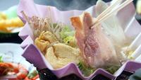 【信州山河の幸】信州ポーク味噌仕立て鍋と信州川の幸岩魚の塩焼き&信州そば・スタンダード二食付プラン