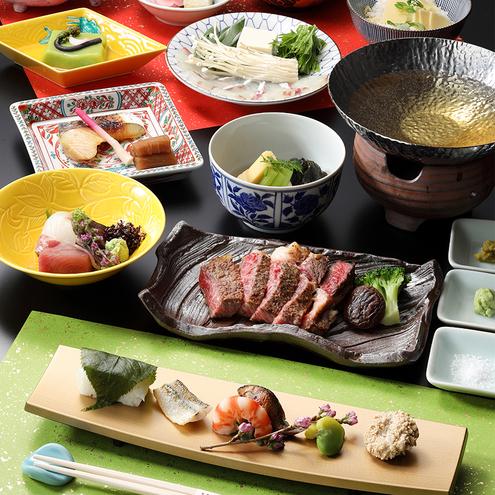 【京料理会席・和牛ステーキ付プラン】ちょっと贅沢に♪季節の会席に旨み溢れるジューシーなお肉も味わう