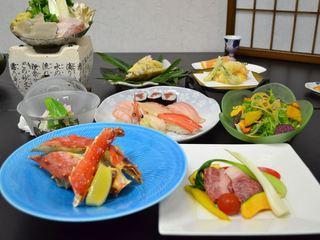 【わがまま贅沢美味三昧】人気の料理を会席膳で一度に味わう寿司・たらば蟹・蔵王牛ステーキ会席膳