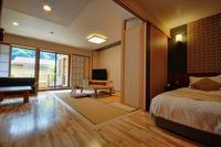 露天風呂付き広々リビングの和洋室「湯庵」 51平米