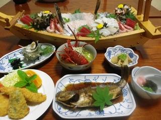 【楽天限定】★舟盛り+アワビ+サザエ付★豪華絢爛魚介尽くし二食付きプラン☆