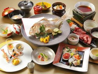 お祝い会席◆焼き鯛と黒毛和牛とろろすき鍋〜温泉ギフト