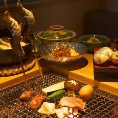 上州牛・麦豚・赤城鳥の食べ比べ【囲炉裏焼き料理コース】郷土料理のお切込みや焼きまんじゅうも炭火で
