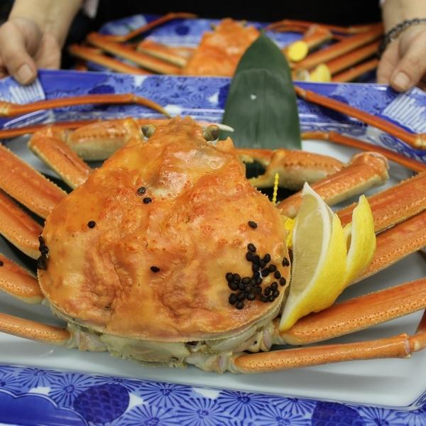 【タグ付越前ガニ】+カニ刺し・焼き蟹等かにフルコース★楽プラン