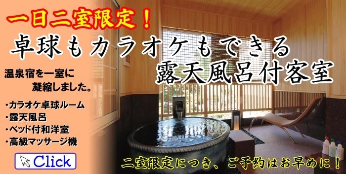 卓球もカラオケもできる温泉露天風呂付き客室