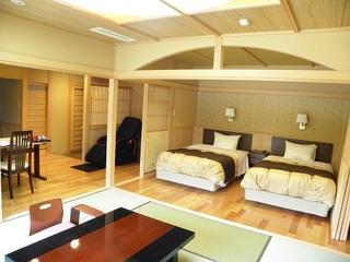 【あかしや館】 露天風呂やマッサージチェア・シモンズ製のセミダブルベッド付!快適和洋室