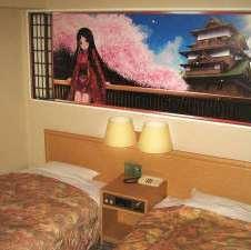 狭めツイン◇16平米 諏訪姫と観光テーマの大型パネル有
