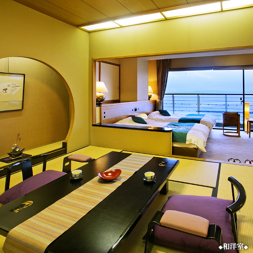 和室8畳+ツインベッド◆海の見える和洋...