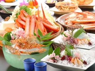 【春得】 活桜エビの踊り付き!香住かにかにしゃぶ鍋&焼かにコース【女性にも嬉しい♪3大無料特典付き】