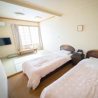 【本館】和洋室/4名/ベッド2台・布団2組/専用バストイレ