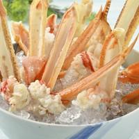 【夏ズワイガニ】喜多八夏の新名物!夏限定★カニの冷しゃぶプラン。氷の上に花咲く「蟹」。舟盛り付き♪