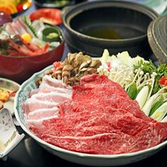 【牛豚しゃぶしゃぶ付会席】 牛肉と豚肉を食べ比べ!もちろん旬魚のお造里も♪