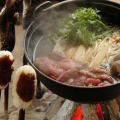 【冬の定番】選べる山形牛orかも鍋★あつあつ囲炉裏でお鍋プラン