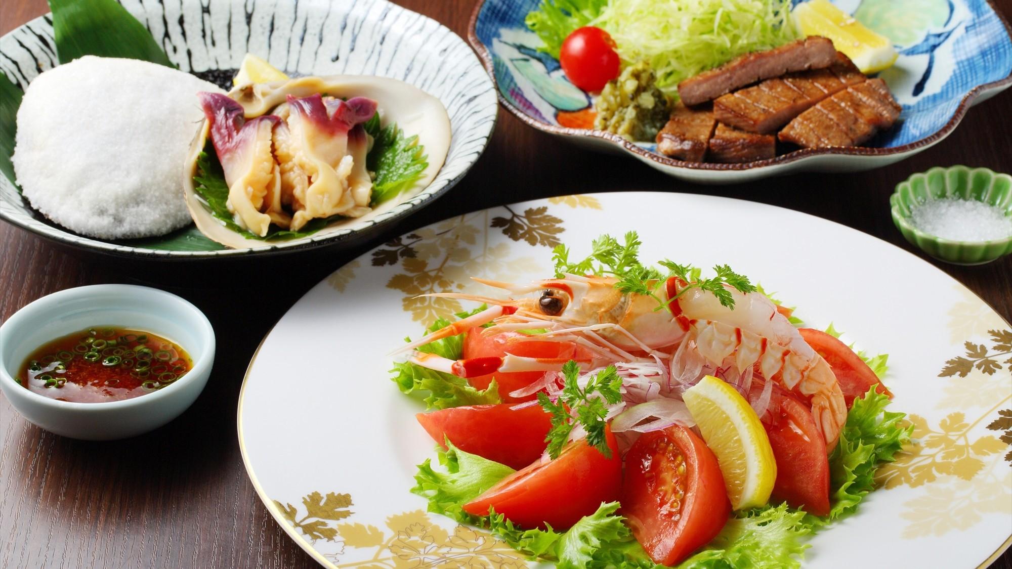 【ご夕食は御食事処「思いのまま」】メイン料理はその場でチョイスで贅沢なひと時を