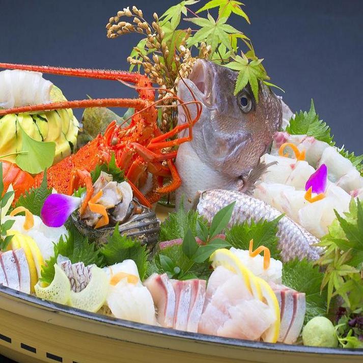 【舟盛り付】新鮮お刺身を姿造りで 海の幸満喫プラン