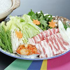 【冬期限定お得】体ぽかぽか♪みゆきポーク鍋と手打十割蕎麦/2食付