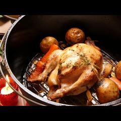 【グレードアップ】スキーの後はダッチオーブンでじっくり火を通したローストチキンを味わって♪1泊2食