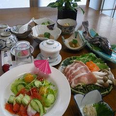【二食付】標高1800mの秘湯×地鶏使用♪「山菜御岳鍋」+8品を満喫☆【現金特価】