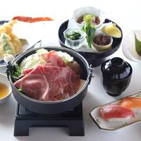 【お得な夕食】夕食は和食「黒毛和牛肩ロースのすきやきコース」を堪能(夕朝食付)