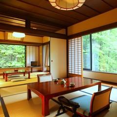 【禁煙】介山荘特別室◇和室10畳+和室6畳+居間+半露天風呂