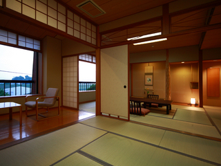 ゆったり広々サイズの二間続きの和室(12畳+8畳)