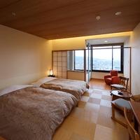 西の館・温泉展望風呂付ツイン(36平米)最上階!夜景一望