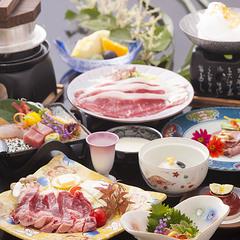 【菊】黒毛和牛ステーキ+すき焼き+ロースト★贅沢トリプル満足♪&鮑温泉蒸