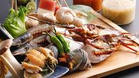 【新プラン!海鮮かお肉を選べる】鉄板焼きコースで鮑・伊勢海老や淡路牛に舌鼓&温泉を満喫 1泊夕朝食付