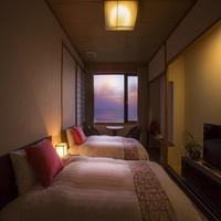 【夕亭】美しい海と空を望むツインベッド和洋室・新展望風呂付